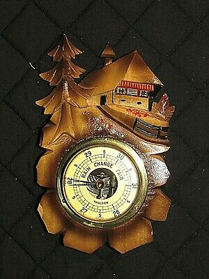 Vintage hand carved German Black Forest barometer chalet wood scene
