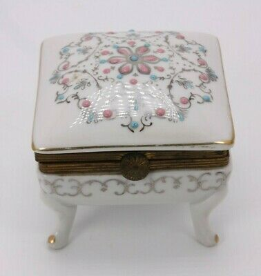 Porcelain Ceramic Floral Enamel French Style Footed Jewelry Casket Trinket Box