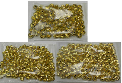 Gold Plated Brass 1000 pcs 3mm Corrugated Round Spacer Beads GP
