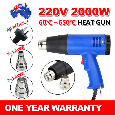 220V 2000W Electric Heat Gun 60-650 Degree Temperature Adjustable Hot Air OZ