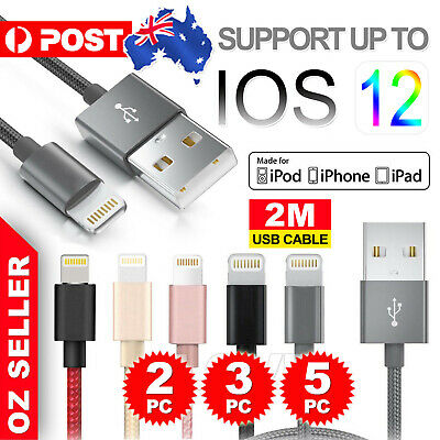 5x USB Cable Charger for Apple iPhone 8 7 6 5 iPad X Nylon 2M Cord Fast Charge