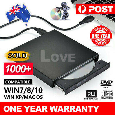 USB External CD RW DVD ROM Writer Burner Player Drive For PC Laptop Mac WIN8/10