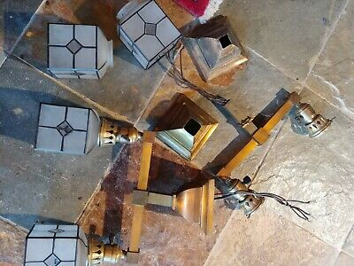 2 Arts & Crafts/mission Brass chandelier,light fixture,antique,sconce,lamp #7