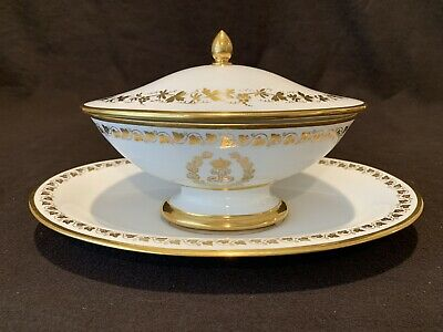 Louis Philippe Sevres Service Des Princes Footed Sauce Tureen Underplate Gold #2