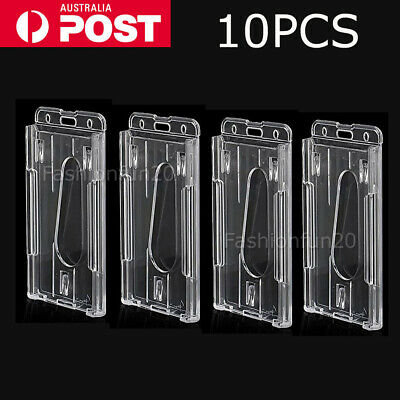 10X Vertical Hard Plastic Badge Holder Double Side Card ID Multi Transparent OZ