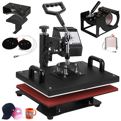 Digital Heat Press Machine T-Shirt Transfer Sublimation Mug Hat Printing 6in1