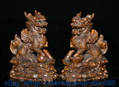 "4"" Old China Boxwood Hand-carved Feng Shui Qilin Kylin Dragon Beast Statue Pair"