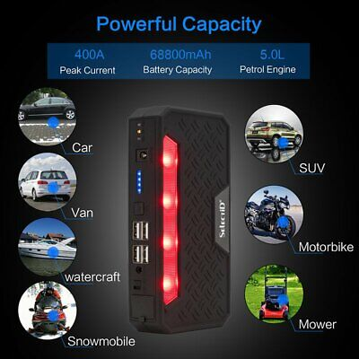 Vehicle Car Jump Starter Booster 68800mAh USB Battery Power Bank Charger 12V