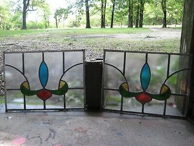 Antique Stained Glass Window Panels Leaded Matching Pair! Architectural Salvage