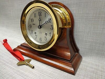 """Vintage Brass 4.5"""" Chelsea Ships Bell Clock With Cradle Stand"""