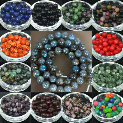 4 6mm 8mm 10mm Lot Bulk Natural Stone Lava Loose Beads Bracelet Jewelry Necklace