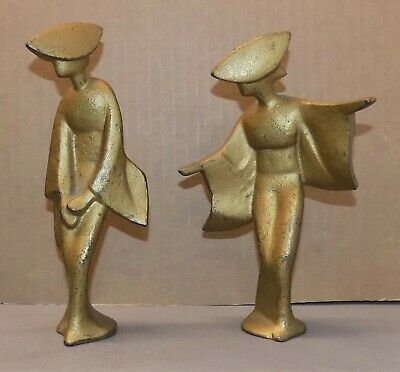 Antique ART DECO STATUETTES/BOOKENDS stylish women hats dresses 2 poses 1920s