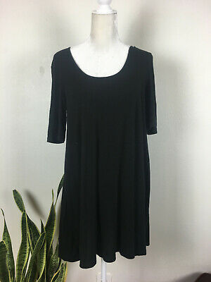 American Apparel Size Small Black Dress Swoop Neck Short Sleeve