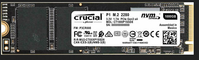 Crucial 1TB SSD P1 M.2 PCIe NVMe Internal Solid State Drive 2000MB/s