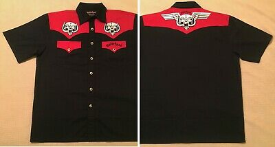Motorhead Dragonfly L Rare 2005 New Embroidered Button Shirt Snaggletooth Lemmy
