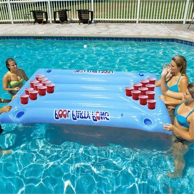 Inflatable Beer Pool Pong Float Table Raft Lounge Party Game 24 Cup Holder1D 5t