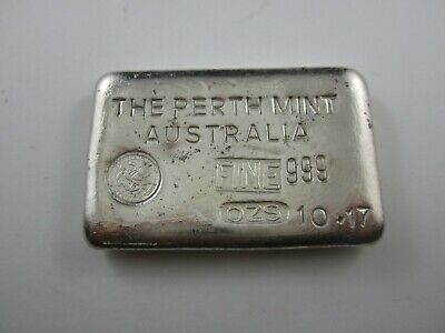Vintage Silver Bar. 10.17 oz The Perth Mint - 10oz odd weight example - Type A