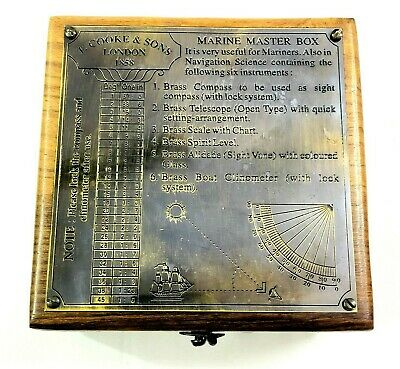 Antique Brass Marine Master Box & Nautical Compass Telescope Magnifying Glass