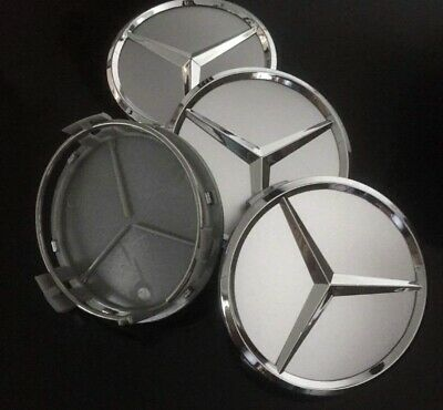 Mercedes Benz Silver Wheel Centre Cap B66470202 Set of 4.  UK stock