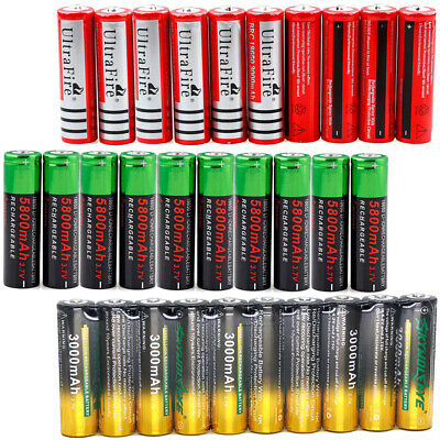 10x 5800mAh 18650 Battery 3.7V Rechargeable Battery Smart Charger For LED Torch*