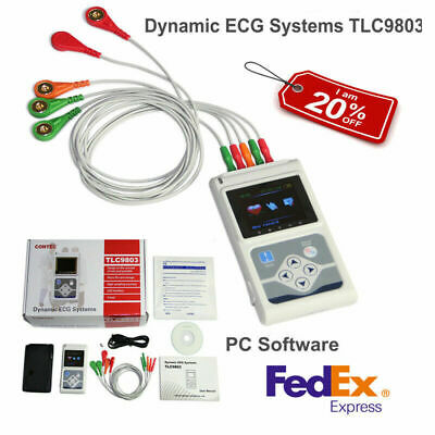CONTEC 3-lead ECG/EKG Holter Monitor 24hour Recorder System PC Software Analysis