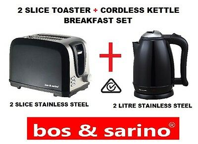 Premium 2 Slice Glossy Black & 2L Cordless Kettle Full Stainless Steel Products
