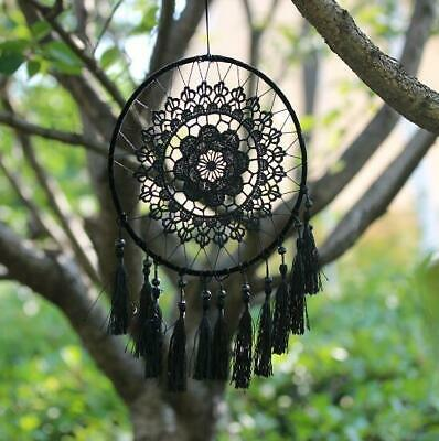 Home Car Wall White Handmade Feathers Dream Catcher Hanging Decoration Black