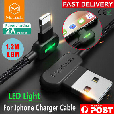 1.8M MCDODO 90 Degree Angle USB Charger lightning Cable Apple iPhone iPod iPad