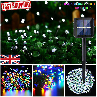 50-500 LED White/Colour Solar Fairy String Lights Fence Patio Waterproof 8 Modes
