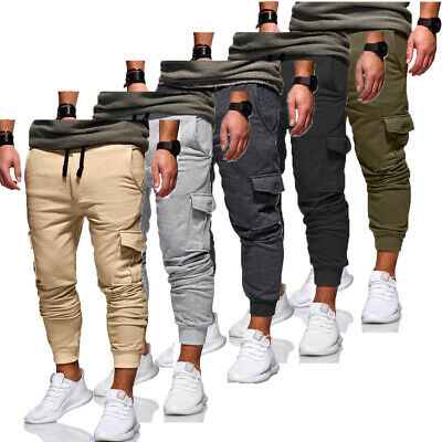 Men's Gym Casual Sport Trousers Tracksuit Bottoms Skinny Joggers Sweat Pants