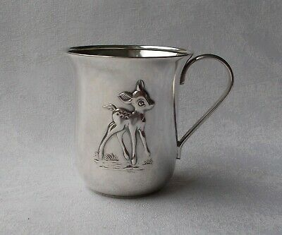 *RAR* Eleganter Henkelbecher / Kinderbecher Bambi aus 835er Silber