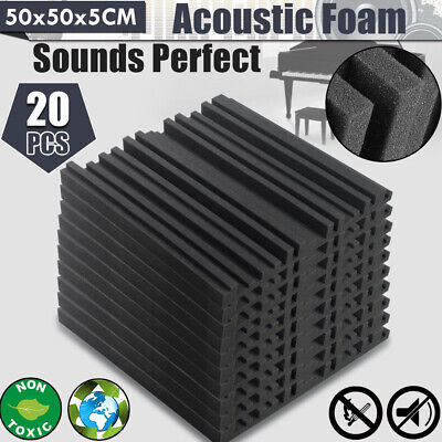 20PCS 50x50CM Acoustic Foam Panel Home Sound Stop Absorption Treatment Proofing