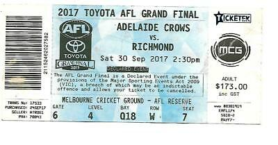 2017 Afl Grand Final Ticket-- Richmond V Adelaide    Great Souvenir