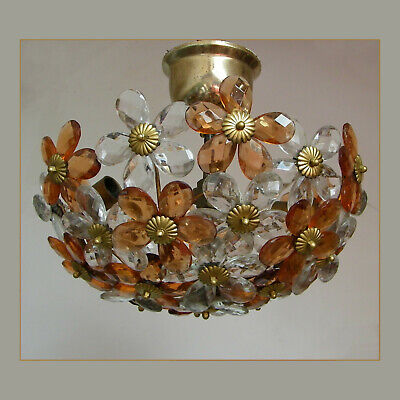 Vintage Bagues Or Banci Crystal Prisms Flowers Flush Mount Ceiling Light Fixture