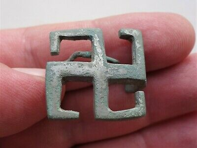 ancient Roman bronze silvered brooch - fibula,in shape of swastika,intact,4th AD
