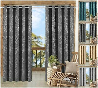 Thermal Blackout Curtains Eyelet Ring Top Outdoor / Bedroom Window Curtains Pair