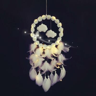 Colorful Handmade Cloud Dream Catcher  Feather Wall Car Hanging Decor Craft +LED