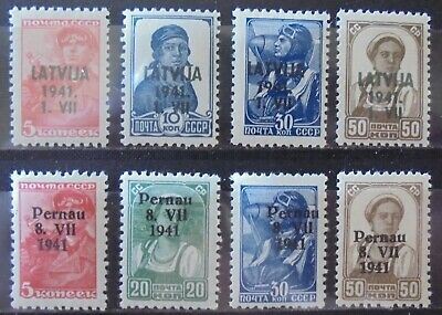 GERMANY Third Reich 1941 Occupation of Latvia & Estonia, 4 MNH & 4 LMH