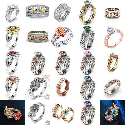 Exquisite Women 925 Silver Floral Ring 14k Rose Gold Flower Wedding Jewelry