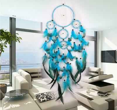 Handmade Dream Catcher with Feather Wall Hanging Decoration Ornament Blue 25""