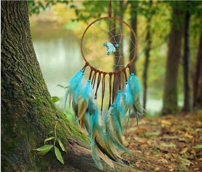 Dream Catcher Blue Turquoise Hanging Wall Car Decor Feather Handmade Feathers
