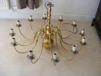 Vintage French Antique Brass 12 Branch Chandelier Flemish Ceiling Light Lamp