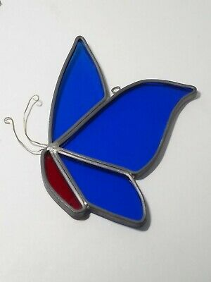 HANDCRAFTED Vintage Stained Glass Blue BUTTERFLY SUN CATCHER Window ORNAMENT Red