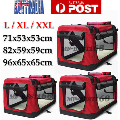 5 SIZE Pet Soft Crate Portable Dog Cat Carrier Travel Cage Kennel Foldable - Red