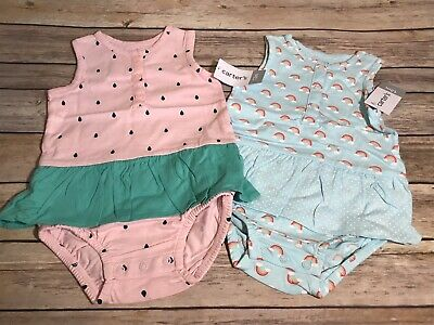 NEW CARTERS Infant Baby GIRL Size 3 Months Outfit UNICORN PINK STRIPE TWINS #29