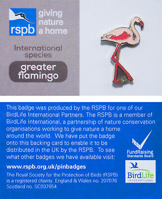 RSPB Pin Badge | greater flamingo international species (00950)