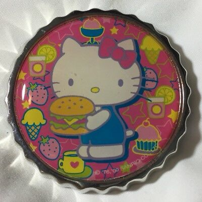 f5dfb2b45 2009 Sanrio Hello Kitty Round Bottle Cap Brooch Pin Pink Foods Silver Tone