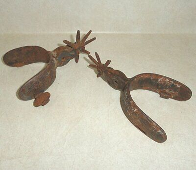 Vintage Pair of Heavy Metal Spurs, 8 Point Old Western Tack Decor