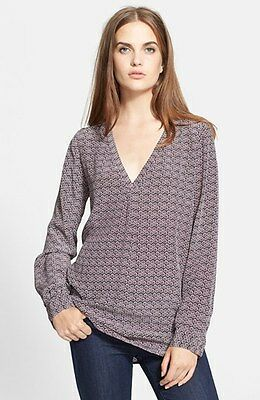 "$248 Nwt Joie ""Daryn"" 100% Silk Blouse Top In Shiraz( Purple)  V-Neck Sz L"