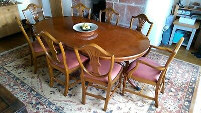 Bradley Yew extending dining table and 8 chairs - good condition
